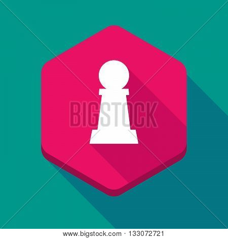 Long Shadow Hexagon Icon With A  Pawn Chess Figure