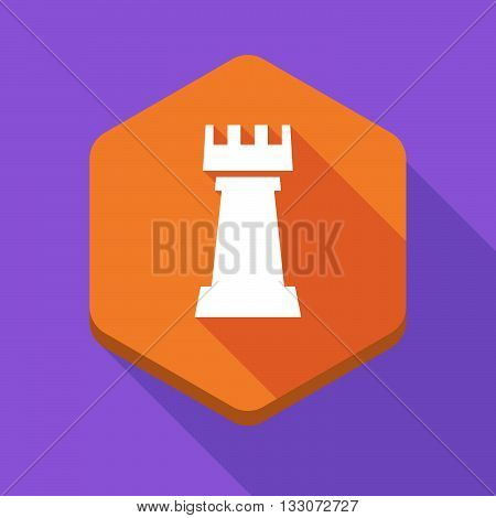 Long Shadow Hexagon Icon With A  Rook   Chess Figure