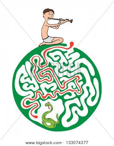 Maze puzzle for kids, labyrinth illustration with solution.