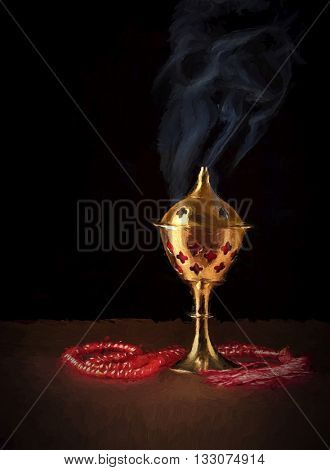 An oudh burner and prayer beads on dark background. Oil painting art. A bakhoor burner and a rosary. Fine art drawing.