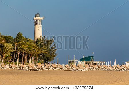 Beach And Lighthouse During Sunset - Morro Jable Fuerteventura Canary Islands Spain
