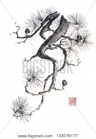 Japanese style original sumi-e pine branch ink painting. Hieroglyph featured means sincerity. Great for greeting cards or texture design.