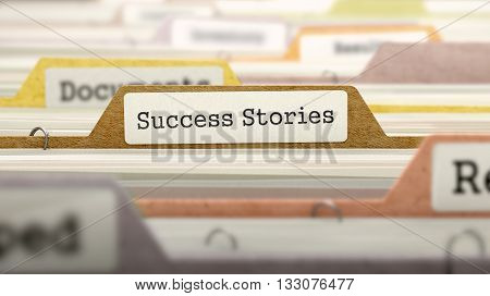 Success Stories Concept on Folder Register in Multicolor Card Index. Closeup View. Selective Focus. 3D Render.