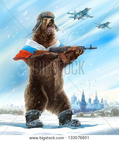 Caricature personage. Furious bear with a kalashnikov assault rifle and a cap a soldier. The collective image of Russia and the USSR. Propaganda stamp.