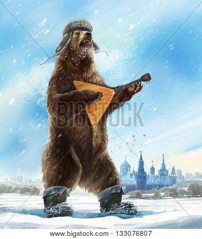 Caricature personage. Drunk and furious bear with a balalaika and a cap a soldier. The collective image of Russia and the USSR. Propaganda stamp.
