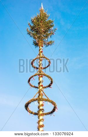 May pole (Maibaum) top - blue sky