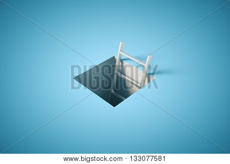 Success concept with ladder tip coming out of pit on blue surface. 3D Rendering