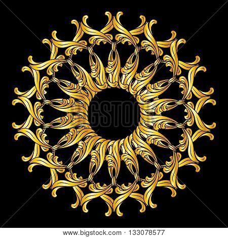 Ornate florid pattern in golden colors on black background
