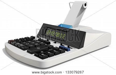 3D Cash Register On White Background