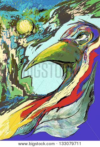Abstract illustration of tribal shaman - War Bird