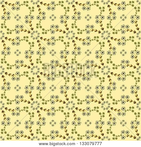 Vector seamless pattern. Abstract background with flowers. Cute hand drawn texture. Artistic tileable theme with flowers.