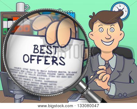 Man in Suit Holding a Paper with Text Best Offers. Closeup View through Magnifying Glass. Multicolor Modern Line Illustration in Doodle Style.