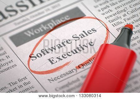 Software Sales Executive. Newspaper with the Small Ads of Job Search, Circled with a Red Highlighter. Blurred Image. Selective focus. Job Seeking Concept. 3D Illustration.