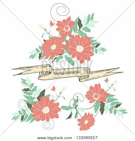 Hand drawn floral elements. Isolated hand-drawn flowers on white background. Flowers design for weddings celebrations and holydays