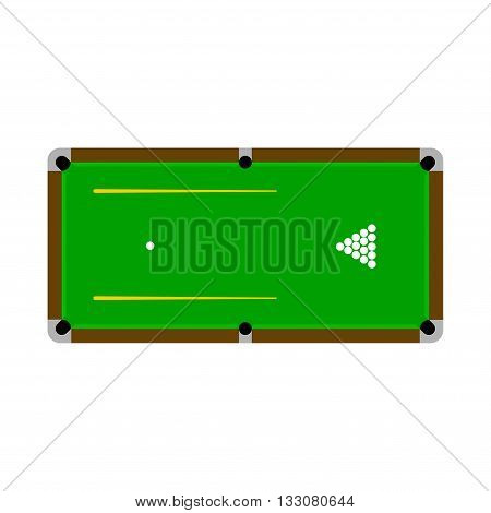 Pool table with balls and cue. Illustration.