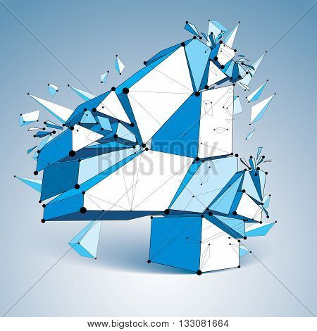 3d vector low poly number 4 with black connected lines and dots geometric wireframe font with fragment. Perspective shattered thread digit.