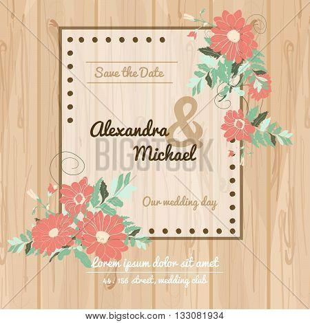Flowers invitational wedding card. Wedding invitation card vector illustration. Flower invitational card design for weddings celebrations and holydays.