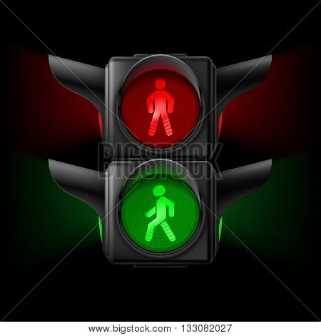 Realistic pedestrian traffic lights with red and green lamps on. Illustration on black background