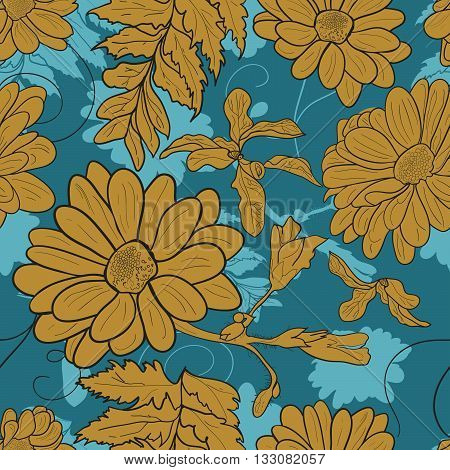 Camomile hand-drawn seamless pattern. Vector illustration for textile surface web mobile and print. Golden camomile on blue background.