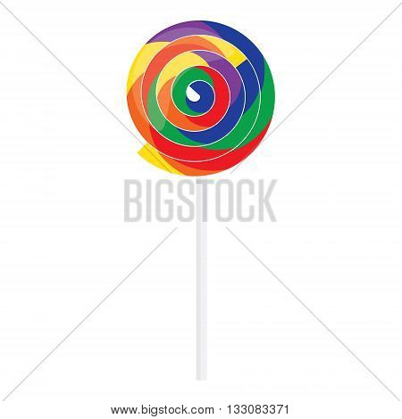 Vector illustration rainbow swirl lollipop icon. Colorful lollipop. Candy lollipop sweet food sugar caramel