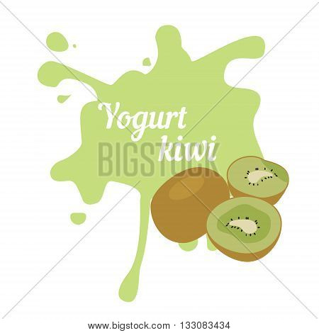 Vector illustration kiwi yogurt logo. Milk product food. Splash of kiwi fruit yogurt