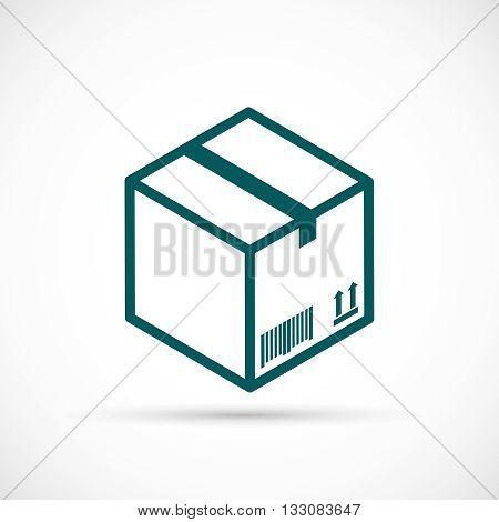 Cardboard box icon. Closed cardboard box flat icon