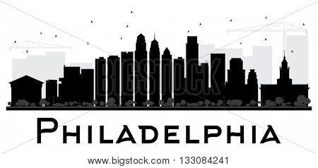 Philadelphia City skyline black and white silhouette. Vector illustration. Simple flat concept for tourism presentation, banner, placard or web site. Business travel concept. Cityscape with landmarks