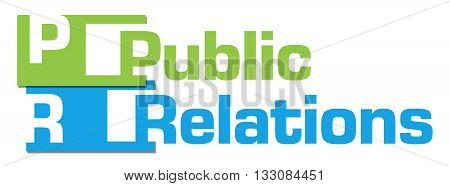 Public relations text written over green blue background.