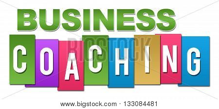 Business coaching text written over colorful background.