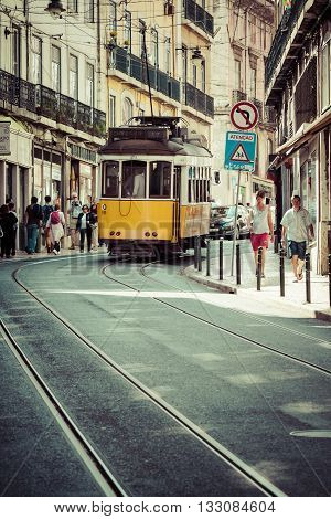 Lisbon Portugal-April 12 2015: Vintage tram in the city center of Lisbon Lisbon Portugal in a summer day