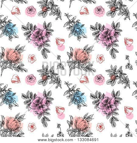 Beautiful hand drawn seamless pattern boho flowers. Flowers for boho-style  wedding invitations. Decorative floral illustration with flowers of peonies.
