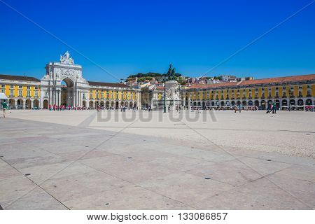 Lisbon Portugal-April 12 2015:Commerce square one of the most important landmarks of Lisbon with the famous Triumphal Arch in Portugal
