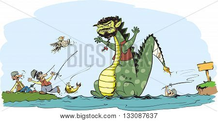 Vector illustration of monster from river caricature