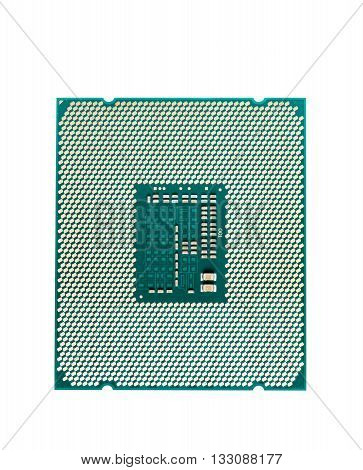 Computer processor CPU isolated on white background top view