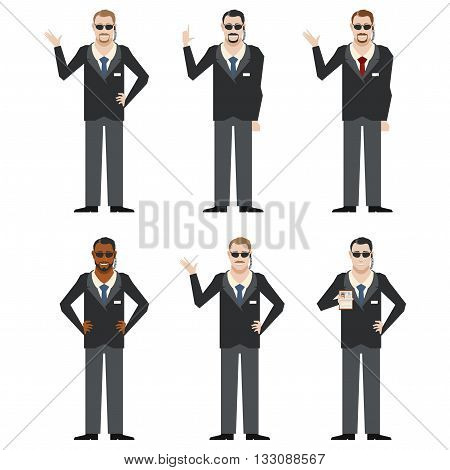 Vector image of the set of FBI Agents