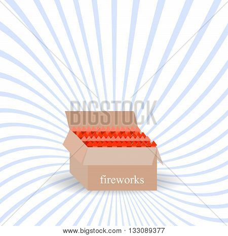 A box of fireworks.Vector illustration boom set