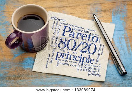 Pareto principle or eighty-twenty rule - word cloud on a napkin with a cup of coffee