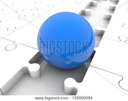 Blue ball between puzzle pieces . 3D illustration .