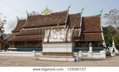 LUANG PRABANG, LAOS - FEBRUARY 12, 2016:  Wat Xieng Thong, one of the temples in Luang Prabang on February 12, 2016 in Laos, Asia