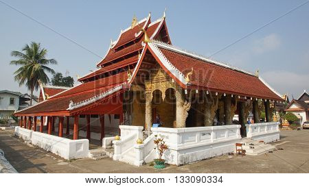 LUANG PRABANG, LAOS - FEBRUARY 11, 2016: Wat Mai Suwannaphumaham, one of the temples in Luang Prabang on February 11, 2016 in Laos, Asia