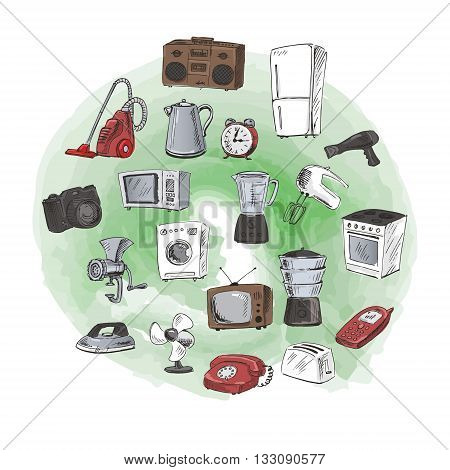 Sketches of household appliances. Can be used as an icon or other design. Vector illustration.