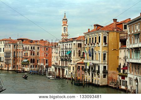View of the Grand Canal in Venice Rialto bridge