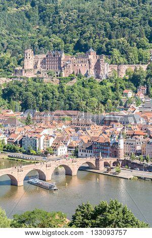 Heidelberg Germany in summer aerial view