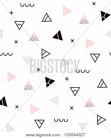 Seamless pattern Geometric pattern for fashion and wallpaper. Memphis style for fashion. Pattern hipster with colored triangles