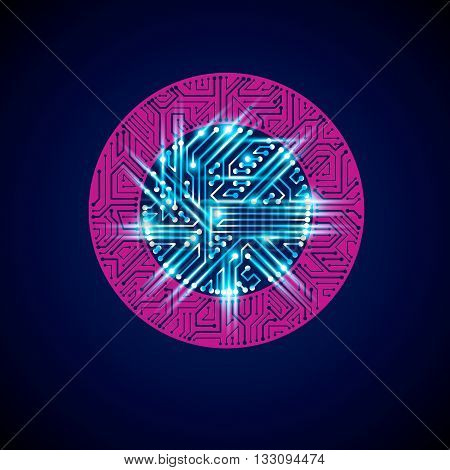 Futuristic Cybernetic Scheme, Vector Motherboard Blue And Magenta Illustration With Neon Lights. Cir