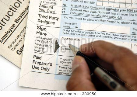 Signing A Tax Return