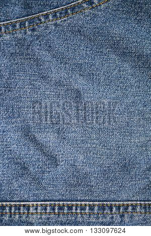clean blue jeans denim texture background with a seam