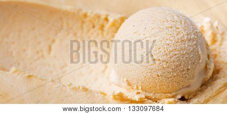 Homemade vanilla, caramel ice cream Organic product Close up