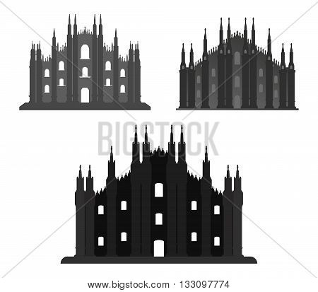 Milan Cathedral shown on a white background