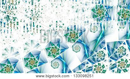 Radiance of the starry sky. Glitter luxury diamond. 3D illustration. Sacred geometry. Mysterious psychedelic relaxation wallpaper. Fractal abstract pattern.